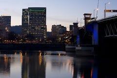 Morrison lift bridge Portland Oregon. Morrison St lift bridge downtown Portland Oregon Royalty Free Stock Photos