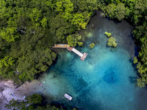 Morrison Springs Aerial - Clear Water. An aerial view from 200 foot elevation of the clear freshwater Morrison Springs county park showing the boardwal and stock image