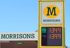 Morrisons petrol station. The front of a morrisons petrol/gas station in the UK. The prices per litre are on display royalty free stock photo