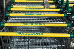 Morrisons supermarket trollies Royalty Free Stock Images