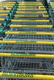 Morrisons supermarket trollies Royalty Free Stock Image