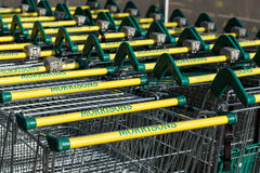 Morrisons supermarket trollies lined up Royalty Free Stock Images