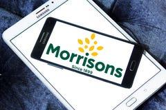 Morrisons Supermarkets chain logo. Logo of Morrisons Supermarkets chain on samsung mobile.  Morrisons, is the fourth largest chain of supermarkets behind Tesco Stock Image