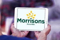 Morrisons Supermarkets chain logo. Logo of Morrisons Supermarkets chain on samsung tablet .  Morrisons, is the fourth largest chain of supermarkets behind Tesco Royalty Free Stock Images