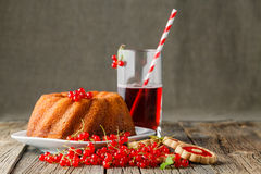 Morrning breakfast serving with cake and red berries stock photography