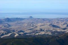 Morro岩石航拍-接近的莫罗贝,加利福尼亚 库存图片