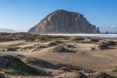 Morro bay rock and beach in the morning stock image