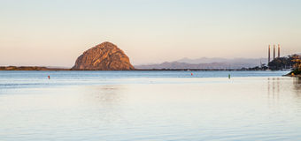 Morro bay rock and a port in the morning. Panoramic picture. Stock Photography
