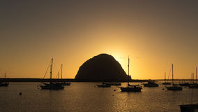 Morro Bay Rock at sunset, panorama Royalty Free Stock Photo