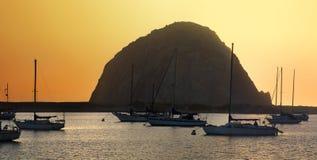 Morro Bay Rock sunset panoramaCalifornia, USA. Morro Bay Rock at sunset, panorama, California, USA Royalty Free Stock Images