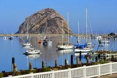 Morro-Bucht-Hafen und der Felsen, Kalifornien Stockbild