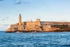 Morro Castle Along the Malecon in Havana Cuba. Morro Castle Fortress Photographed in Late Afternoon Light Along the Malecon in Havana Cuba Royalty Free Stock Photography