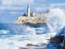 The Morro Castle in Havana with a stormy ocean Royalty Free Stock Image