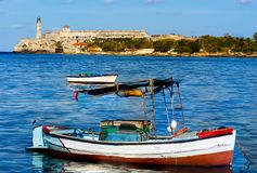 Morro Castle Along the Malecon in Havana Cuba. Morro Castle with Small Boats Along Malecon in Havana Cuba Stock Image