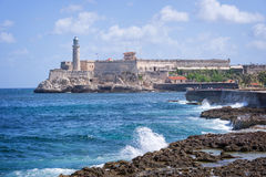 Morro castle view from the Malecon, Havana. Cuba Royalty Free Stock Images