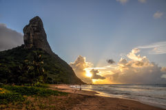 Morro do Pico at sunset, fernando de Noronha, Pernambuco (Brazil Stock Images