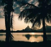 Lagoa Rodrigo de Freitas, Rio de Janeiro, Brazil. Morro Dois Irmaoes seen from Lagoa Rodrigo de Freitas at sunset in Rio de Janeiro, Brazil Stock Photography