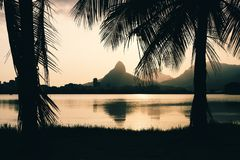 Lagoa Rodrigo de Freitas, Rio de Janeiro, Brazil. Morro Dois Irmaoes seen from Lagoa Rodrigo de Freitas at sunset in Rio de Janeiro, Brazil Royalty Free Stock Image