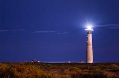Morro Jable灯塔在晚上 免版税库存图片