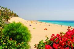 MORRO JABLE费埃特文图拉岛,西班牙- 2017年10月12日:海滩Playa 库存图片