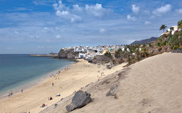 Morro Jable - Beach with townscape Royalty Free Stock Images