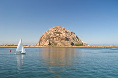 Morro Rock And Sailing Boat Stock Photos