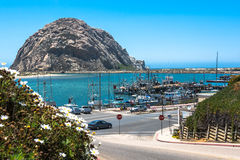 Morro Rock in front of Morro Bay, California Royalty Free Stock Photography