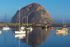 Morro Rock in Pacific Ocean at Morro Bay, California Royalty Free Stock Images
