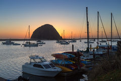 Morro Rock in sunset at Morro Bay, California Royalty Free Stock Photography
