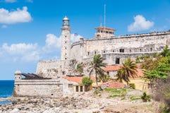 Morro slott från nära område, havannacigarr, Kuba Arkivfoton
