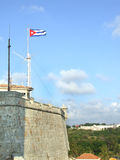 The Morro Wall and a cuban flag. In Havana Cuba Stock Photos