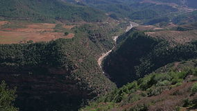 Morrocan Atlas Mountains. Zooming out shot of overlook on Moroccan Atlas Mountains stock video