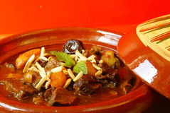 Morrocan beef stew with plums and dried apricots Stock Images