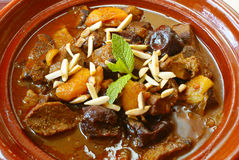 Morrocan Beef Stew With Plums And Dried Apricots Stock Photography
