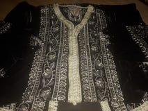 Morrocan caftan. Morrocan traditional dress beautiful black Royalty Free Stock Photo