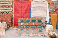 Morrocan carpet. Arabian carpets market in the street Stock Photography