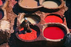 Morrocan man - Fes tannery Stock Image