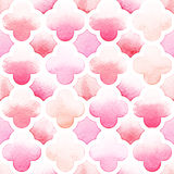 Morrocan ornament of pink colors with quatrefoil on white background. Watercolor seamless pattern Stock Image