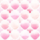 Morrocan ornament of pink colors on white background. Watercolor seamless pattern Royalty Free Stock Images