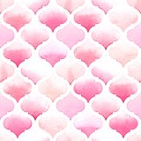 Morrocan ornament of pink colors on white background. Watercolor seamless pattern for fabric Royalty Free Stock Photo