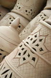 Morrocan pottery. Pottery in Morocco is an old tradition with different techniques. The duality between the Berber inheritance on one hand and the Hispano Stock Photography