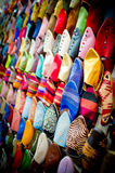 Morrocan sandals. For sale in a souk im marrakesh,morroco Royalty Free Stock Photography