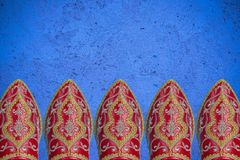 Morrocan shoes border background. Or header Stock Images