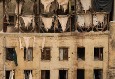 Morrocan tannery in Fes. Moroccan tanning factory in Fes Royalty Free Stock Image