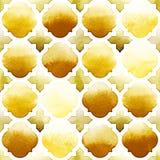 Morrocan-Verzierung von gelben Farben auf weißem Hintergrund Nahtloses Muster des Aquarells Würziger Senf Lizenzfreie Stockbilder