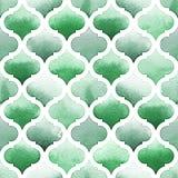 Morrocan-Verzierung von grünen Farben auf weißem Hintergrund Nahtloses Muster des Aquarells für Gewebe Stockfoto
