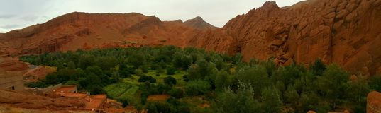 Morrocan village. A green village in the middle of the mountians Stock Photo