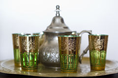Morrocco traditional tea service. On white background Stock Image