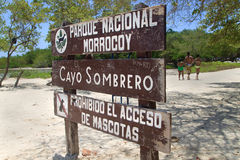 Morrocoy National Park. Venezuela. FALCON, VENEZUELA-JUL 26, 2015: Wooden signpost for Morrocoy National Park. This park includes an area of mangroves and Stock Photography