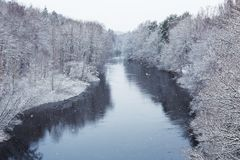 Morrum river in snowy winter. Sweden Royalty Free Stock Photo
